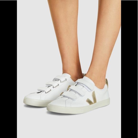 Gold Leather Velcro Sneaker   Poshmark